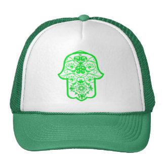 Floral Hamsa green Hats