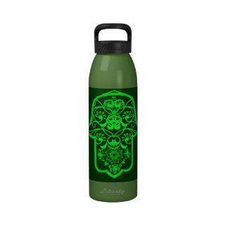 Floral Hamsa (Green) Reusable Water Bottles