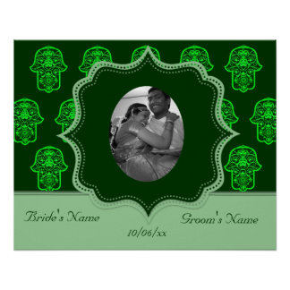 Floral Hamsa (Green) (Wedding) Poster