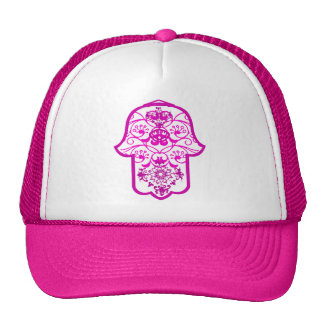 Floral Hamsa Pink Mesh Hats