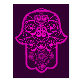 Floral Hamsa Pink Postcard