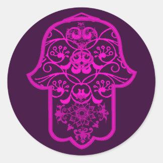 Floral Hamsa Pink Round Stickers