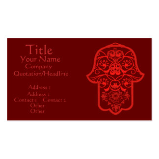 Floral Hamsa (Red) Double-Sided Standard Business Cards (Pack Of 100)