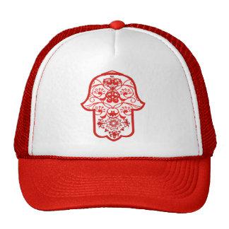 Floral Hamsa Red Mesh Hat