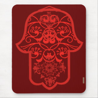 Floral Hamsa (Red) Mouse Pad