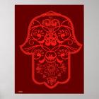 Floral Hamsa (Red) Poster