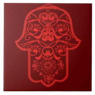 Floral Hamsa (Red) Tile