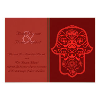 Floral Hamsa (Red) (Wedding) Personalized Invitations