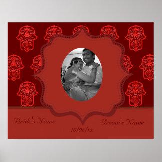 Floral Hamsa (Red) (Wedding) Poster
