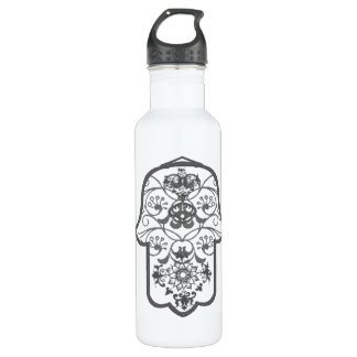 Floral Hamsa Stainless Steel Water Bottle