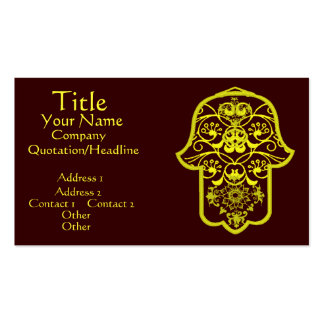 Floral Hamsa (Yellow) Double-Sided Standard Business Cards (Pack Of 100)