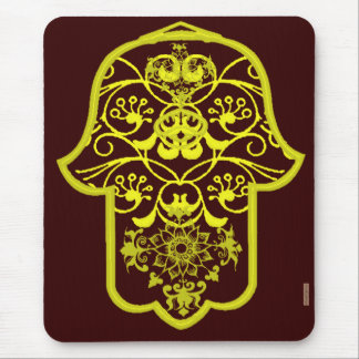 Floral Hamsa (Yellow) Mouse Pad