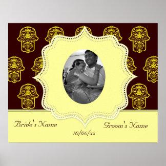 Floral Hamsa (Yellow) (Wedding) Poster