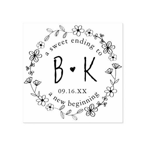 Floral Hand Drawn Wreath Monogram Date Wedding Rubber Stamp