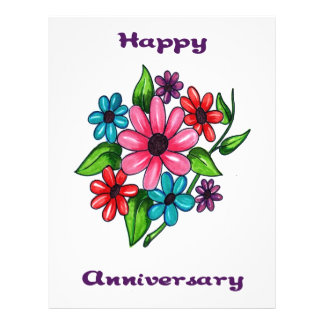 Floral Happy Anniversary Flyer Design