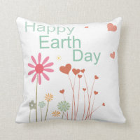 Floral Happy Earth Day Throw Pillow
