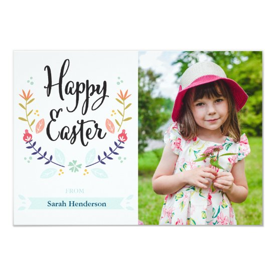 Floral Happy Easter Photo Card