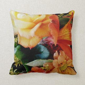 Floral Harmony/Orange Back Throw Pillows