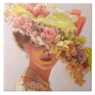 Floral Hat Elegant Vintage Victorian Lady Art Tile
