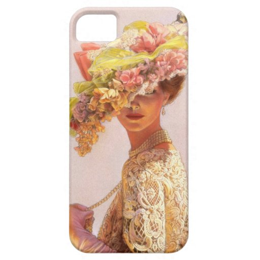 Floral Hat Victorian Fashion Lady iPhone 5 Case