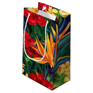 Floral hawaiano del paraíso tropical bolsa de regalo pequeña