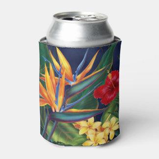 Floral hawaiano del paraíso tropical enfriador de latas