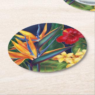 Floral hawaiano del paraíso tropical posavasos desechable redondo