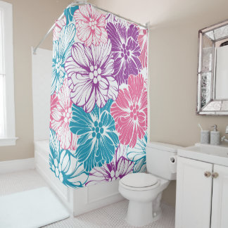 purple and teal shower curtain. Floral Hawaiian Hibiscus Flowers Pink Teal Purple Shower Curtain Curtains  Zazzle