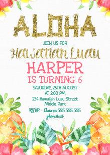 Hawaiian Birthday Invitations