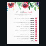 "Floral he said she said bridal shower game letterhead<br><div class=""desc"">Floral he said she said bridal baby shower game.  Type your own custom quotes in!</div>"