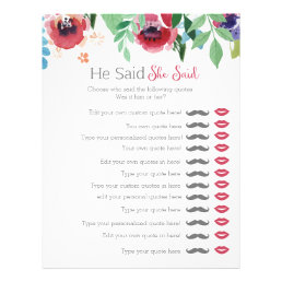 Floral he said she said bridal shower game letterhead