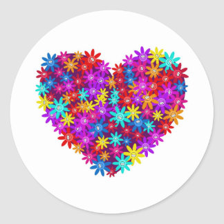 Floral Heart Classic Round Sticker