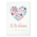 "Floral Heart Classroom Valentine 3.5"" X 5"" Invitation Card"