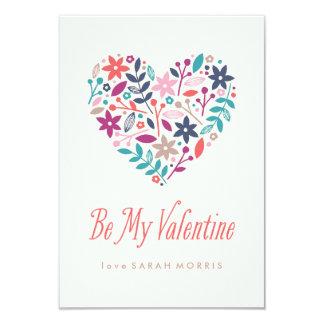 Floral Heart Classroom Valentine 3.5x5 Paper Invitation Card