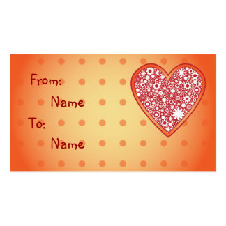 Floral Heart Design - Gift Tag Business Card