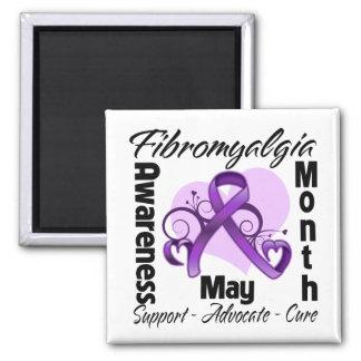 Floral Heart - Fibromyalgia Awareness Month Refrigerator Magnets