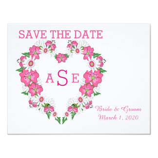 Floral Heart Frame Save The Date Card