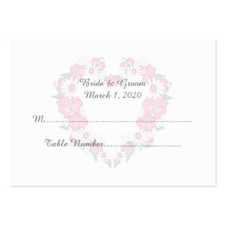 Floral Heart Frame Wedding Place Cards Large Business Cards (Pack Of 100)