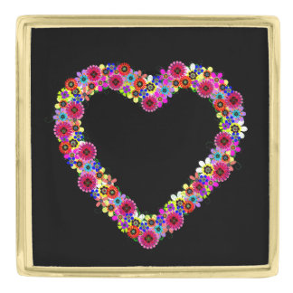 Floral Heart in Black Gold Finish Lapel Pin