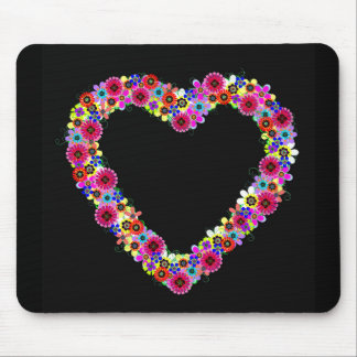 Floral Heart in Black Mouse Pad