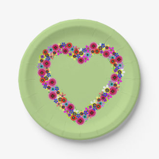 Floral Heart in Green Paper Plate