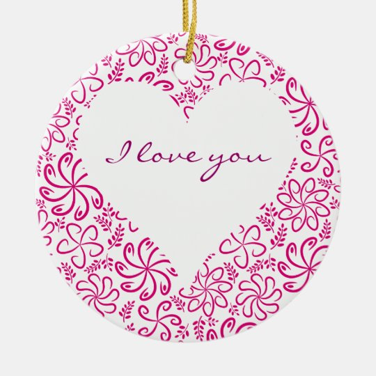 Floral heart in pink white with a name ceramic ornament