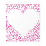 Floral heart in pink white with a name scratch pad