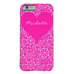 Floral heart in pink with a name barely there iPhone 6 case