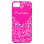 Floral heart in pink with a name iPhone 5 cover