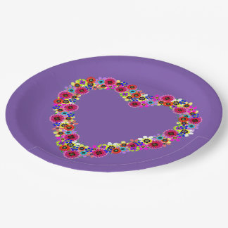 Floral Heart in Purple Paper Plate
