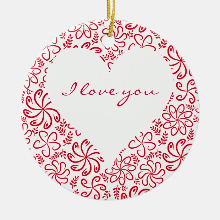 Floral heart in red white with a name ceramic ornament