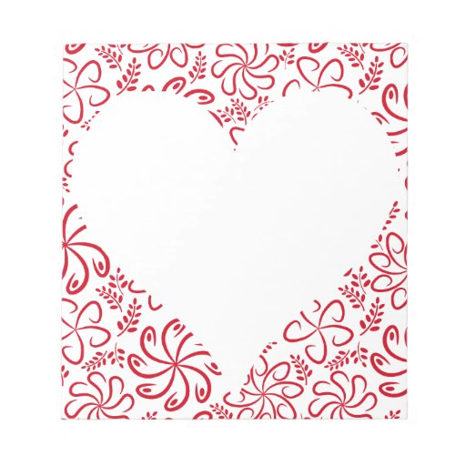 Floral heart in red white with a name notepads