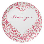 Floral heart in red white with a name party plate