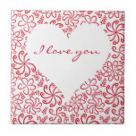 Floral heart in red white with a name ceramic tiles